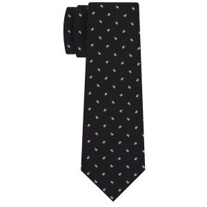 Off-White on Bitter Chocolate Print Pattern Silk Tie #MCT-541