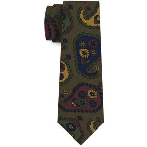 Yellow Gold, Blue, Burgundy, Dark Olive Green & Black on Olive Green Print Pattern Silk Tie #MCT-544