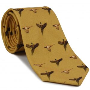 Burnt Orange, Dark Chocolate, Brown on Gold Macclesfield Printed Pheasants Wool Tie #MCWT-3