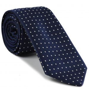 White on Midnight Blue Mogador Pin Dot Tie #MGPDT-1