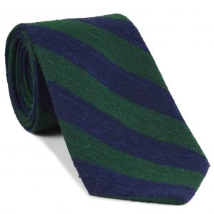 Forest Green & Navy Blue Shantung Wide Stripe Silk Tie #SHBST-2