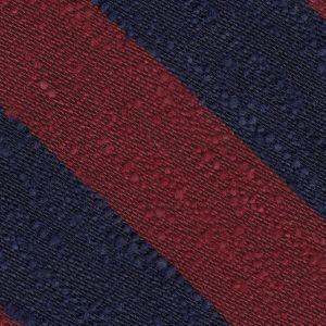 Dark Navy & Dark Red Shantung Wide Stripe Silk Pocket Square #SHBSP-3