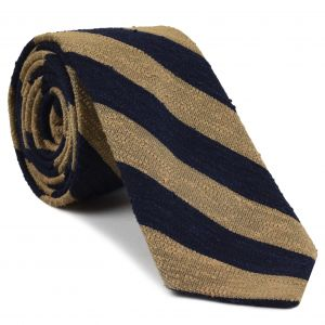 Navy Blue & Sand Shantung Wide Stripe Silk Tie #SHBST-5