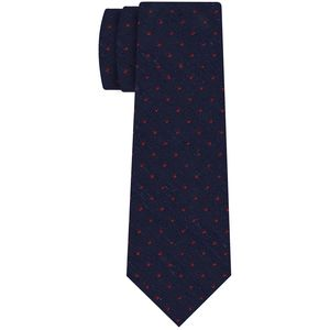 Dark Red on Midnight Blue Shantung Pin Dot Silk Tie #SHPDT-3