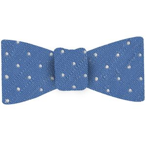 White on Sky Blue Shantung Pin Dot Silk Bow Tie #SHPDBT-4