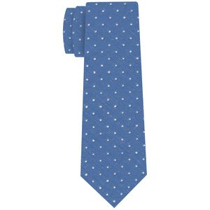 White on Sky Blue Shantung Pin Dot Silk Tie #SHPDT-4