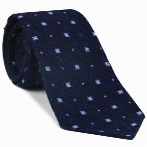 White & Sky Blue on Dark Navy Shantung Pattern Silk Tie #SHPT-2
