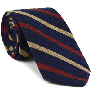 Dark Red & Cream on  Dark Navy Blue Shantung Striped Silk Tie #SHSTT-2