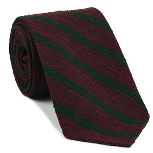 Forest Green on Wine Shantung Striped Silk Tie #SHSTT-3