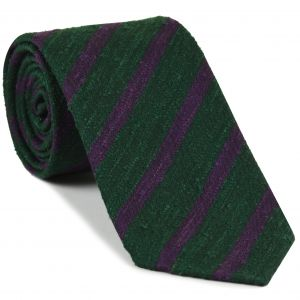 Purple on Forest Green Shantung Striped Silk Tie #SHSTT-4