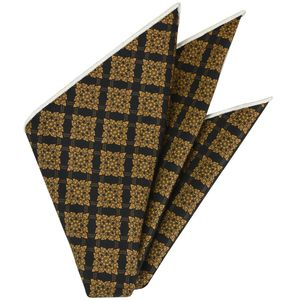Gold on Black Traditional Thai Print Silk Pocket Square #TTP-4