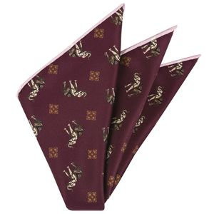 Gold, White & Black on Burgundy  Traditional Thai Print Silk Pocket Square #TTP-5