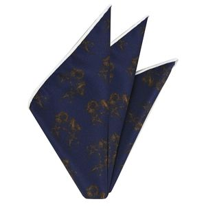 Dark Gold on Dark Navy  Traditional Thai Print Silk Pocket Square #TTP-6