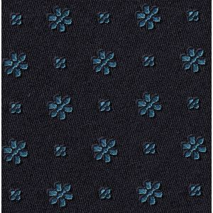 Sky Blue on Midnight Blue Classic Flower Silk Pocket Square #FFFP-1