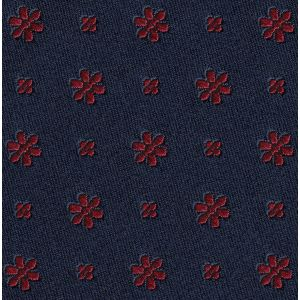 Red on Midnight Blue Classic Flower Silk Pocket Square #FFFP-3