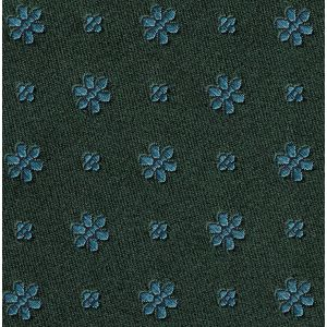Sky Blue on Forest Green Classic Flower Silk Pocket Square #FFFP-5
