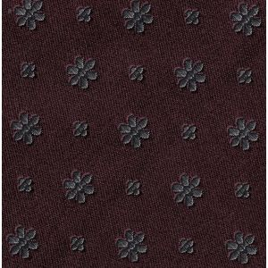 Gray on Burgundy Classic Flower Silk Pocket Square #FFFP-6