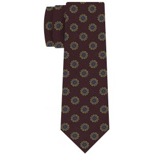 Gold, Blue & Black on Burgundy Wool Pattern Print Tie #MCWT-7