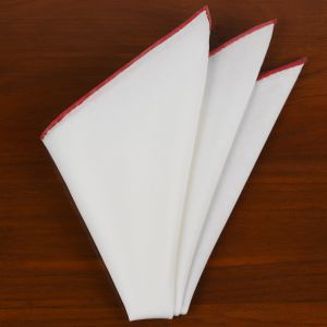 Natural White Linen/Cotton With Red Contrast Edges Pocket Square #LCCP-17