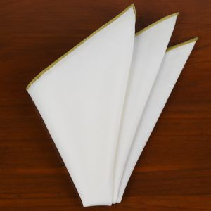 Natural White Linen/Cotton With Gold Contrast Edges Pocket Square #LCCP-19