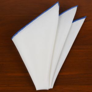 Natural White Linen/Cotton With Sky Blue Contrast Edges Pocket Square #LCCP-22