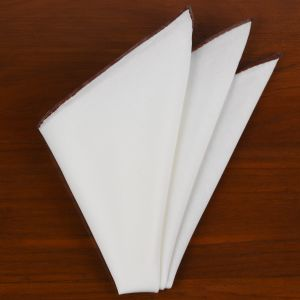 Natural White Linen/Cotton With Chocolate Contrast Edges Pocket Square #LCCP-25