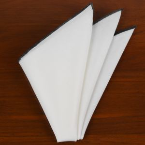 Natural White Linen/Cotton With Midnight Blue Contrast Edges Pocket Square #LCCP-27