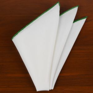 Natural White Linen/Cotton With Forest Green Contrast Edges Pocket Square #LCCP-30