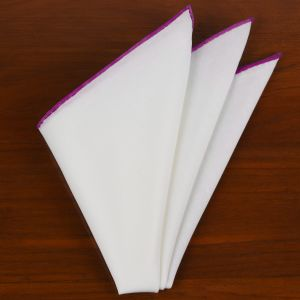 Natural White Linen/Cotton With Pink Contrast Edges Pocket Square #LCCP-31