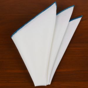 Natural White Linen/Cotton With Dark Turqouise Contrast Edges Pocket Square #LCCP-32