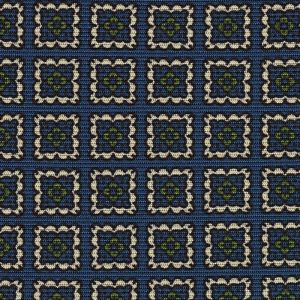 Off-White & Young Leaf Green on Dark Blue Macclesfield Print Silk Pocket Square #MCP-380