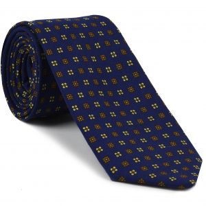 Burnt Orange & Off-White on Navy Blue Pattern Challis Wool Tie #CHPT-2