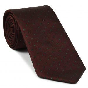 Green Dots On Burgundy Pin-Dot Silk Tie #EPDT-7