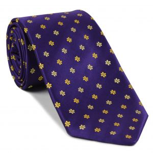 Yellow on Purplish-Blue English Flower Silk Tie  #FT-10
