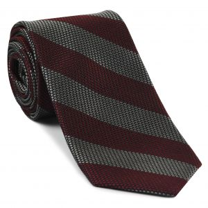 Charcoal Gray & Red Grenadine Fina Wide Stripe Silk Tie #GFBST-1
