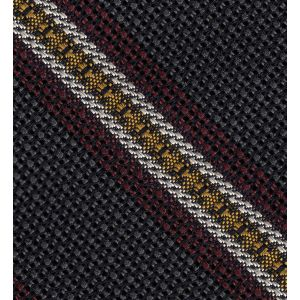 Dark Red, Yellow & Off-White on Charcoal Gray Grenadine Fina and Grossa Stripe Silk Pocket Square #1