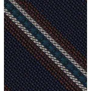 Chocolate, Turquoise & Off-White on Dark Navy Blue Grenadine Fina and Grossa Stripe Silk Pocket Square #2