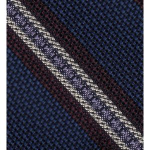 Burgundy, Lavender & Off-White on Navy Blue Grenadine Fina and Grossa Stripe Silk Pocket Square #3