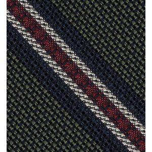 Midnight Blue, Red & Off-White on Olive Green Grenadine Fina and Grossa Stripe Silk Pocket Square #4