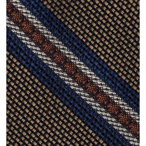 Navy Blue, Burnt Orange & Off-White on Gold Grenadine Fina and Grossa Stripe Silk Tie #6