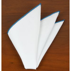 White Linen With Ocean Blue Contrast Edges Pocket Square #LLCP-18