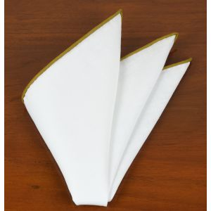 White Linen With Gold Contrast Edges Pocket Square #LLCP-19