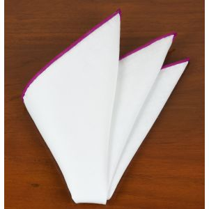 White Linen With Fuchsia Contrast Edges Pocket Square #LLCP-20