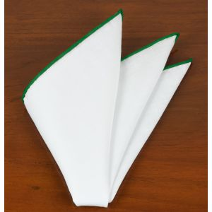 White Linen With Forest Green Contrast Edges Pocket Square #LLCP-30