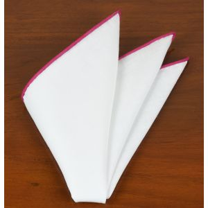 White Linen With Pink Contrast Edges Pocket Square #LLCP-31