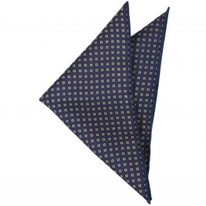 Red, Light Yellow on Dark Navy Blue Macclesfield Print Pattern Silk Pocket Rectangle #MCP-1
