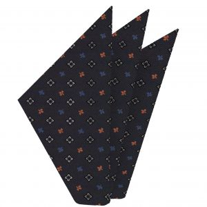 White, Blue, Powder Blue & Orange on Medium Charcoal Gray Macclesfield Printed Silk Pocket Square #MCP-107