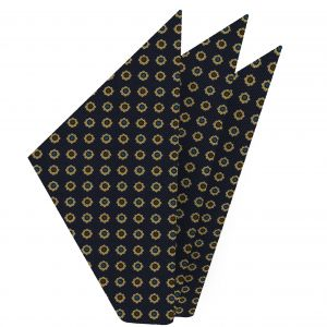 Light Yellow, Blue, Black & Dark Brown on Dark Navy Blue Macclesfield Printed Silk Pocket Square #MCP-97