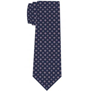 Light Lavender on Dark Navy Blue Macclesfield Print Pattern Silk Tie #MCT-549