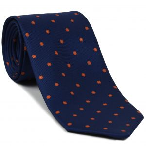 Sky Blue & Orange on Dark Navy Blue Macclesfield Print Pattern Silk Tie #MCT-555